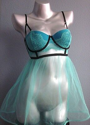 NWT Victorias Secret Very Sexy Aqua Blue Chantilly Lace Tulle Babydoll Gown 36C