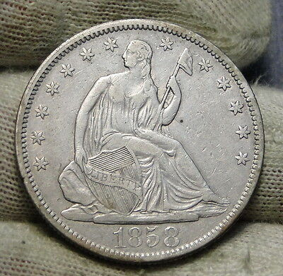 1858 Seated Liberty Half Dollar 50 Cents - Nice Coin, Free Shipping (6063)