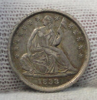 1838 Seated Liberty Half Dime H10C No Drapery - Nice Coin, Free Shipping (5215)