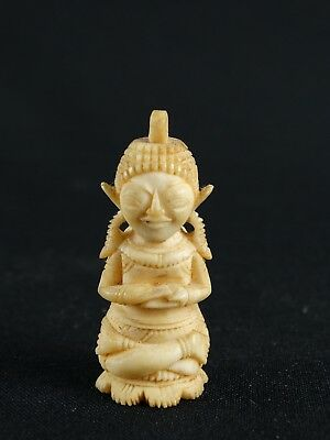 Vintage Indian Hand Carved Deer Antler Hindu Deity Pendant India c1950s