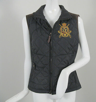 NEW! Polo Ralph Lauren Womens Quilted Vest!  Suede Trim, Equestrian Embroidery