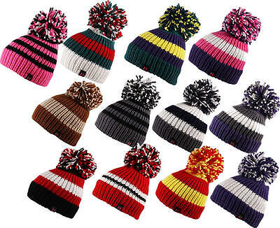 29447c9d5cb BIG BOBBLE KNITTED Ribbed Cable Stripe Pom Pom Beanie Hat Cap Unisex -   16.57