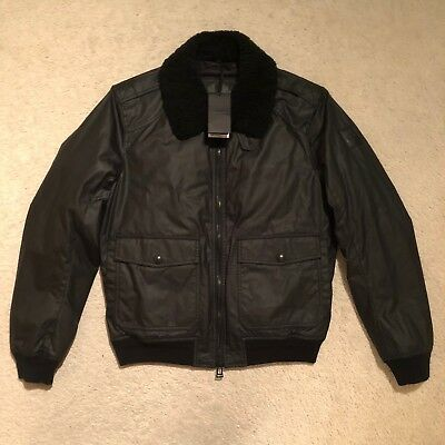 Belstaff Mortimer Shearling Trimmed Waxed Cotton Jacket Size IT 52 RRP: £695.00