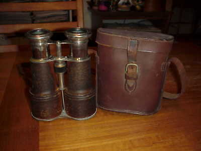 """Vintage Early French Binoculars """"Grand Lumiere Paris"""" with Leather Case Optical"""