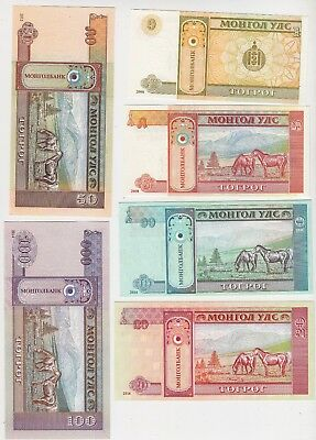 6 Different Banknotes, Mongolia 2008-2014, Unc, Horses On Banknotes!