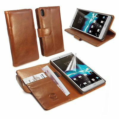 Tuff-Luv Personalised Wallet / Stand case cover for Xperia Z5 Premium -Brown