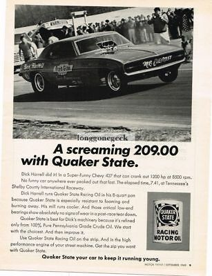 1969 Quaker State Racing Motor Oil Dick Harrell Funny Car Dragster Vtg Print Ad