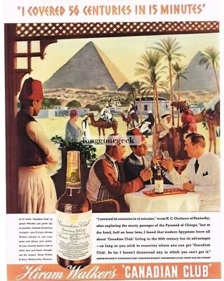 1937 Hiram Walker CANADIAN CLUB Whiskey Egyptian Cafe Pyramids art Vtg Print Ad