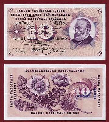 10 Francs 1963 Switzerland Schweiz Suisse 30Q VF