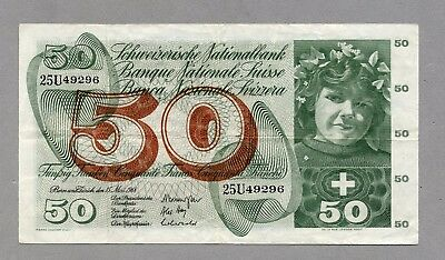 50 Francs 1968 Switzerland Schweiz Suisse 25U VF