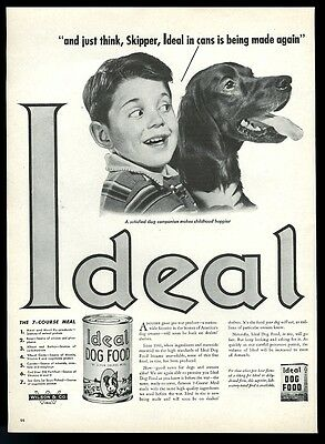 1947 Irish Setter and boy photo Ideal dog food vintage print ad