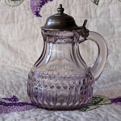 Beautiful Antique - Dark Sun Purple Glass - Syrup Decanter  – VERY NICE