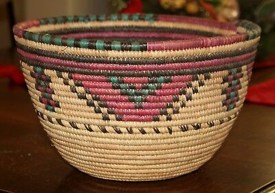 """Large 11"""" Hausa Coil Basket - Multi Color  - Maroon - Turquoise - Brown"""