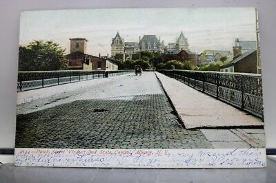 New York NY Albany State Capitol Hawk Street Viaduct Postcard Old Vintage Card