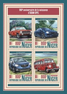 Niger - 2017 Adam Opel Cars - 4 Stamp Sheet - NIG17512a