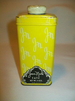 Vintage JEAN NATE TALC 4 oz. Talcum Powder Tin Can Container # 60 New York USA