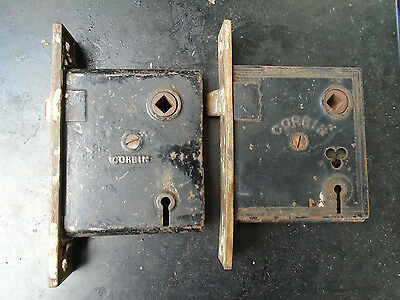 (2)Ant late 19th early 20th century Corbin (1) Brass cast iron mortise door lock
