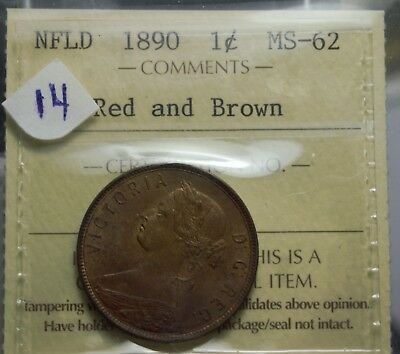 ICCS    1890    MS-62  Red & Brown  Newfoundland One  Cent