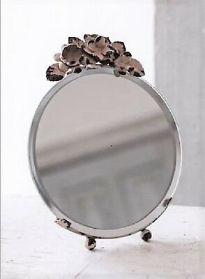 Vintage-Inspired Shabby Chic Style Easel Table Mirror Adorned w/Metal Flowers