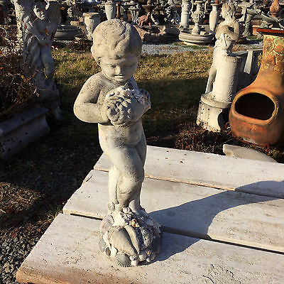 Vintage Cement Seashell Cherub, Child, Shells & Pearls Garden ART Statue