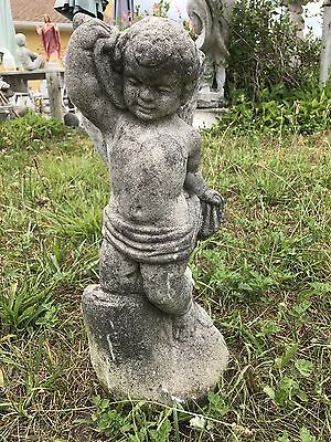 Vintage Cement Cherub, Putti, Angel, Boy Kneeling on a Log Garden Art Statue