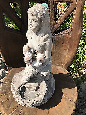 Vintage Cement Mermaid Fountain Top Garden Statue Art w/Seashells Plumbed 21.75""