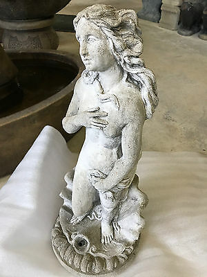 Vintage Cement Venus Of The Sea Fountain Top, Garden Statue, Pond Plumbed 21.75""