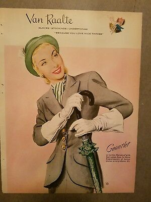 1947 womens van raalte gauntlet gloves vintage umbrella fashion ad