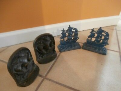 Vtg  Lot 2 Sets Nautical Bookends USS Constitution Old Ironsides, 1930's DAL