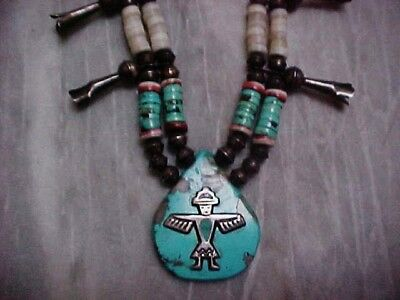 Old  Horace Iule Knife Wing Turquoise Shell Heishe Silver Beads Squash Blossom