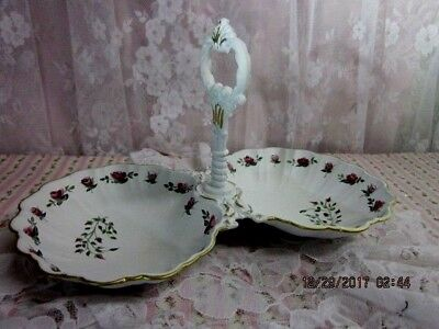 shabby sweet hand painted vintage double white w/pink roses trinket tray holder