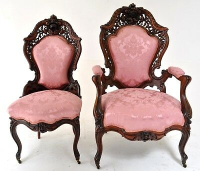 Important pair of antique laminated rosewood chairs J & JW Meeks NY 1855