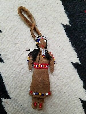 Vintage Native American Indian Leather Doll Beaded Miniature Unknown Tribe