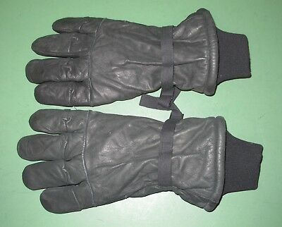 US Military Issue Black Leather Intermediate Cold Wet Weather Gloves Sz #5 XL