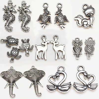 New Lots Tibet Silver Various Animal Charm Pendants Craft Jewelry Finding DIY