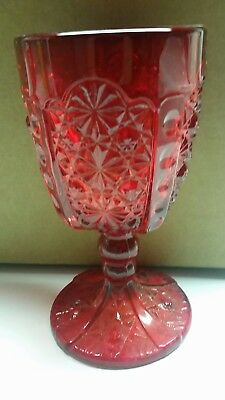 LG Wright Daisy & Button Goblet  Red