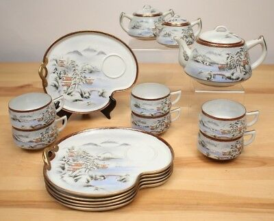 Vintage Japanese Tea Set Signed Hand Painted Snow & Mountains 15 pieces M1