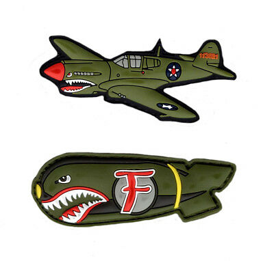 Dropping F Bomb WW 2 Style Flying Tigers P-40 Warhawk PATCH (PVC Rubber-Bundle)