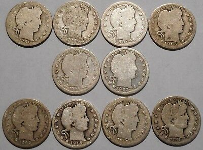 Barber Quarters - Set of 10 Different - See Dates - Low Start & Free Ship -09
