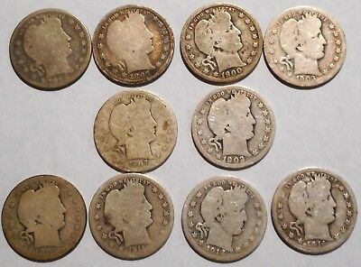 Barber Quarters - Set of 10 Different - See Dates - Low Start & Free Ship -01