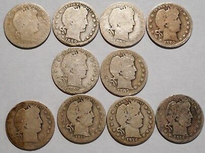 Barber Quarters - Set of 10 Different - See Dates - Low Start & Free Ship -04