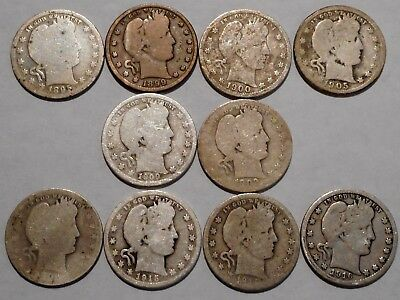 Barber Quarters - Set of 10 Different - See Dates - Low Start & Free Ship -07