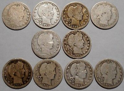 Barber Quarters - Set of 10 Different - See Dates - Low Start & Free Ship -06