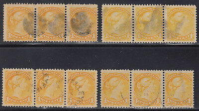 Canada 1c Small Queen Strips, Scott 35, mostly VF used w/shades - VERY NICE !!!