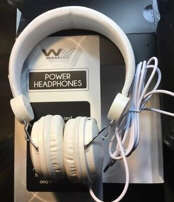 WestView Power Headphones  White, Adjustabe, Foldable, works with 3.5mm jack NIB