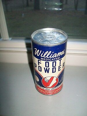 Vintage Williams Medicated Foot Powder 2 ½ oz. Cardboard Paper Can Container