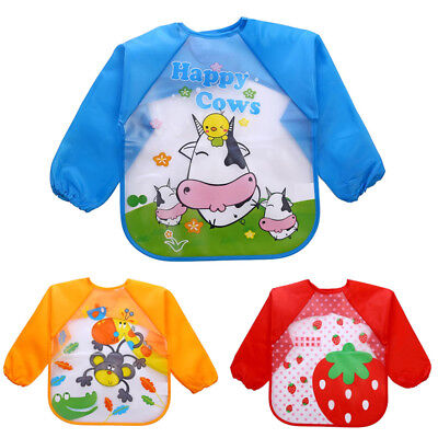 Baby Bibs Kids Waterproof Feeding Bibs Boy Girls Cute Long Sleeve Cartoon Bibs