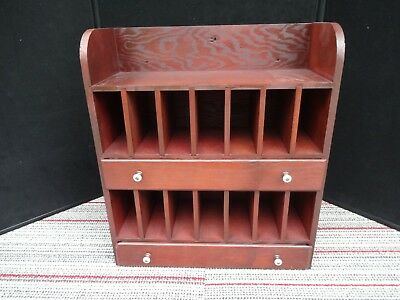 Vintage Primitive Wood Desk Organizer Mail Letter Craft Shelf Cabinet 2 Drawer