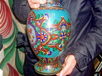 Antique Chinese Cloisonné Large Vase Turquoise Ground Phoenix Lotus Blossom
