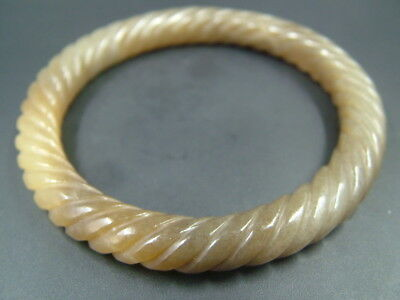 Chinese Antique Old Celadon Nephrite HETIAN jade bangle bracelet Twisted wire